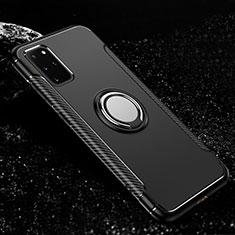 Custodia Silicone e Plastica Opaca Cover con Magnetico Anello Supporto R03 per Samsung Galaxy S20 Plus Nero