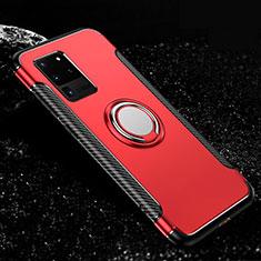 Custodia Silicone e Plastica Opaca Cover con Magnetico Anello Supporto R03 per Samsung Galaxy S20 Ultra 5G Rosso