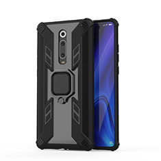 Custodia Silicone e Plastica Opaca Cover con Magnetico Anello Supporto R03 per Xiaomi Mi 9T Pro Nero