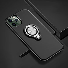 Custodia Silicone e Plastica Opaca Cover con Magnetico Anello Supporto R04 per Apple iPhone 11 Pro Max Nero