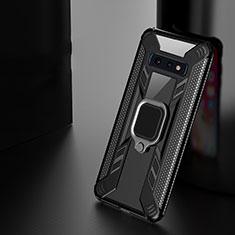 Custodia Silicone e Plastica Opaca Cover con Magnetico Anello Supporto R04 per Samsung Galaxy S10 Plus Nero