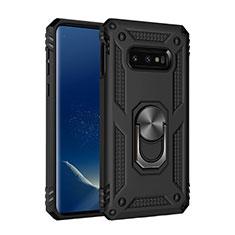 Custodia Silicone e Plastica Opaca Cover con Magnetico Anello Supporto R04 per Samsung Galaxy S10e Nero