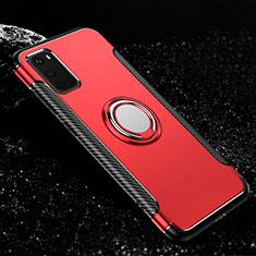 Custodia Silicone e Plastica Opaca Cover con Magnetico Anello Supporto R04 per Samsung Galaxy S20 5G Rosso