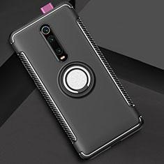 Custodia Silicone e Plastica Opaca Cover con Magnetico Anello Supporto R04 per Xiaomi Mi 9T Nero