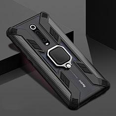 Custodia Silicone e Plastica Opaca Cover con Magnetico Anello Supporto R05 per Xiaomi Mi 9T Pro Nero