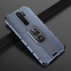 Custodia Silicone e Plastica Opaca Cover con Magnetico Anello Supporto R05 per Xiaomi Redmi Note 8 Pro Blu