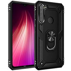 Custodia Silicone e Plastica Opaca Cover con Magnetico Anello Supporto R05 per Xiaomi Redmi Note 8T Nero