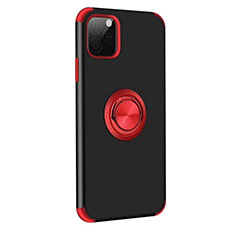 Custodia Silicone e Plastica Opaca Cover con Magnetico Anello Supporto R06 per Apple iPhone 11 Pro Max Rosso e Nero