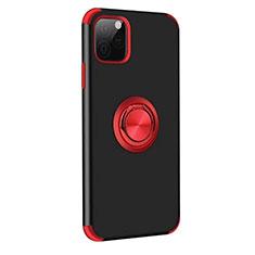 Custodia Silicone e Plastica Opaca Cover con Magnetico Anello Supporto R06 per Apple iPhone 11 Pro Max Rosso e Nero