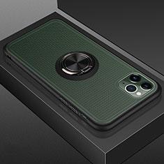 Custodia Silicone e Plastica Opaca Cover con Magnetico Anello Supporto R07 per Apple iPhone 11 Pro Nero