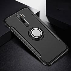 Custodia Silicone e Plastica Opaca Cover con Magnetico Anello Supporto R08 per Xiaomi Redmi Note 8 Pro Nero