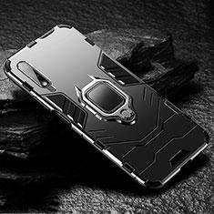 Custodia Silicone e Plastica Opaca Cover con Magnetico Anello Supporto S01 per Huawei Honor 9X Nero