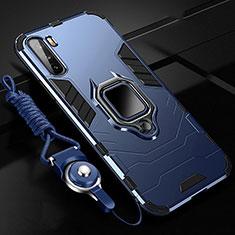 Custodia Silicone e Plastica Opaca Cover con Magnetico Anello Supporto S01 per Huawei Mate 40 Lite 5G Blu