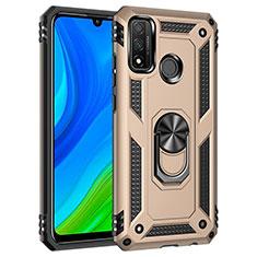 Custodia Silicone e Plastica Opaca Cover con Magnetico Anello Supporto S01 per Huawei P Smart (2020) Oro
