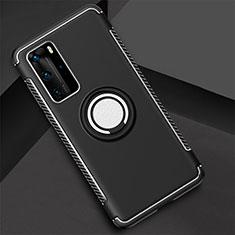 Custodia Silicone e Plastica Opaca Cover con Magnetico Anello Supporto S01 per Huawei P40 Pro Nero
