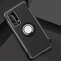 Custodia Silicone e Plastica Opaca Cover con Magnetico Anello Supporto S01 per Huawei P40 Pro+ Plus Nero