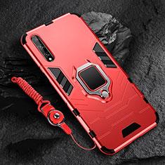 Custodia Silicone e Plastica Opaca Cover con Magnetico Anello Supporto S01 per Huawei Y8p Rosso