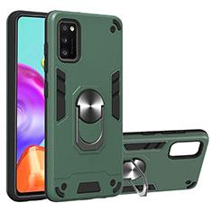Custodia Silicone e Plastica Opaca Cover con Magnetico Anello Supporto S01 per Samsung Galaxy A41 Verde