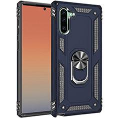 Custodia Silicone e Plastica Opaca Cover con Magnetico Anello Supporto S01 per Samsung Galaxy Note 10 5G Blu