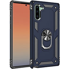 Custodia Silicone e Plastica Opaca Cover con Magnetico Anello Supporto S01 per Samsung Galaxy Note 10 Blu