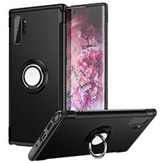 Custodia Silicone e Plastica Opaca Cover con Magnetico Anello Supporto S01 per Samsung Galaxy Note 10 Plus Nero