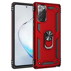 Custodia Silicone e Plastica Opaca Cover con Magnetico Anello Supporto S01 per Samsung Galaxy Note 20 5G Rosso