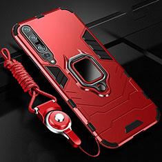 Custodia Silicone e Plastica Opaca Cover con Magnetico Anello Supporto S01 per Xiaomi Mi 10 Pro Rosso