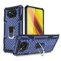 Custodia Silicone e Plastica Opaca Cover con Magnetico Anello Supporto S01 per Xiaomi Poco X3 NFC Blu