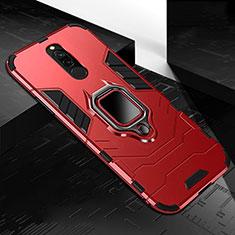 Custodia Silicone e Plastica Opaca Cover con Magnetico Anello Supporto S01 per Xiaomi Redmi 8 Rosso