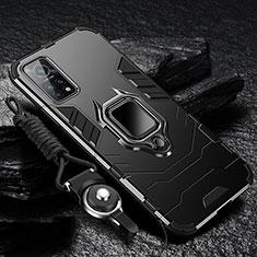 Custodia Silicone e Plastica Opaca Cover con Magnetico Anello Supporto S01 per Xiaomi Redmi K30S 5G Nero
