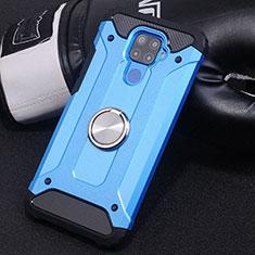 Custodia Silicone e Plastica Opaca Cover con Magnetico Anello Supporto S02 per Huawei Mate 30 Lite Cielo Blu