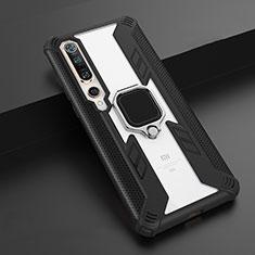 Custodia Silicone e Plastica Opaca Cover con Magnetico Anello Supporto S02 per Xiaomi Mi 10 Pro Nero