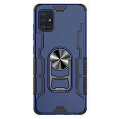 Custodia Silicone e Plastica Opaca Cover con Magnetico Anello Supporto S03 per Samsung Galaxy A51 5G Blu