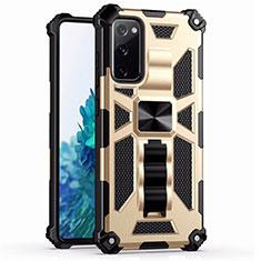 Custodia Silicone e Plastica Opaca Cover con Magnetico Anello Supporto S03 per Samsung Galaxy S20 FE 5G Oro