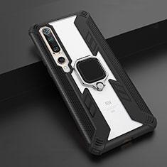 Custodia Silicone e Plastica Opaca Cover con Magnetico Anello Supporto S03 per Xiaomi Mi 10 Nero