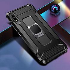 Custodia Silicone e Plastica Opaca Cover con Magnetico Anello Supporto S04 per Huawei Honor 9X Nero