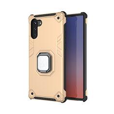 Custodia Silicone e Plastica Opaca Cover con Magnetico Anello Supporto T01 per Samsung Galaxy Note 10 Oro