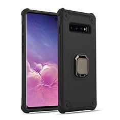 Custodia Silicone e Plastica Opaca Cover con Magnetico Anello Supporto T01 per Samsung Galaxy S10 Nero