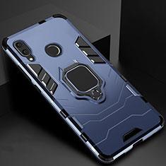 Custodia Silicone e Plastica Opaca Cover con Magnetico Anello Supporto Z01 per Xiaomi Redmi 7 Blu