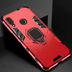 Custodia Silicone e Plastica Opaca Cover con Magnetico Anello Supporto Z01 per Xiaomi Redmi 7 Rosso