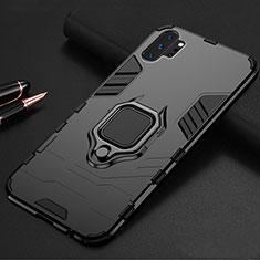 Custodia Silicone e Plastica Opaca Cover con Magnetico Supporto A01 per Samsung Galaxy Note 10 Plus 5G Nero