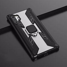 Custodia Silicone e Plastica Opaca Cover con Magnetico Supporto A02 per Samsung Galaxy Note 10 Plus 5G Nero