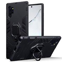 Custodia Silicone e Plastica Opaca Cover con Magnetico Supporto A03 per Samsung Galaxy Note 10 Plus Nero