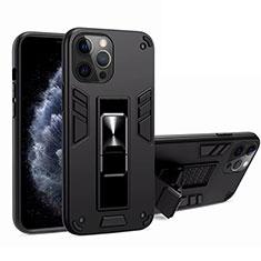 Custodia Silicone e Plastica Opaca Cover con Magnetico Supporto H01 per Apple iPhone 12 Pro Max Nero