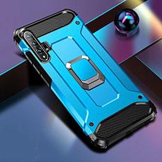 Custodia Silicone e Plastica Opaca Cover con Magnetico Supporto H01 per Huawei Honor 20 Pro Blu