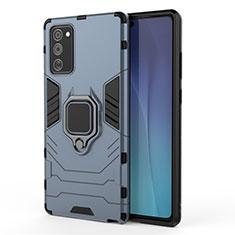 Custodia Silicone e Plastica Opaca Cover con Magnetico Supporto N01 per Samsung Galaxy Note 20 5G Blu