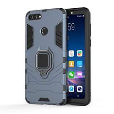 Custodia Silicone e Plastica Opaca Cover con Magnetico Supporto per Huawei Enjoy 8 Plus Blu