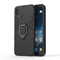 Custodia Silicone e Plastica Opaca Cover con Magnetico Supporto per Huawei Enjoy 9 Nero