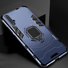 Custodia Silicone e Plastica Opaca Cover con Magnetico Supporto per Huawei Honor 20 Blu