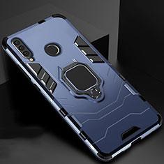 Custodia Silicone e Plastica Opaca Cover con Magnetico Supporto per Huawei Honor 20 Lite Blu